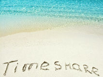 Inscription Timeshare  in the sand on a tropical island,  Maldives. Stock Images