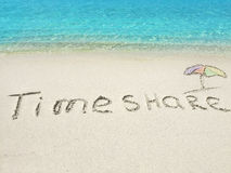 Inscription Timeshare  in the sand on a tropical island,  Maldives. Stock Image