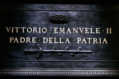 Inscription on the tomb of the father of the Italian homeland Royalty Free Stock Photos