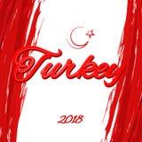 Inscription turque de thème de drapeau de la Turquie dans la perspective du drapeau national du croissant de la Turquie et du vec illustration de vecteur