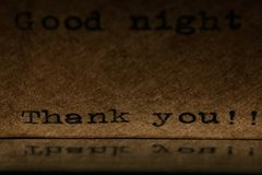 Inscription on a typewriter dark Stock Photography
