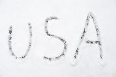 Inscription usa on snow-covered ice Royalty Free Stock Images