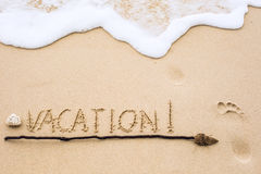 Inscription of Vacation written on wet yellow beach sand with fo Royalty Free Stock Image