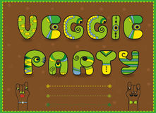 Inscription Veggie Party. Funny green Letters Royalty Free Stock Photography
