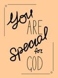 Inscription vous êtes spécial à Dieu fait à la main Photo libre de droits