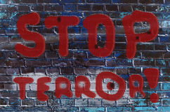 The inscription on the wall of graffiti with the slogan Stock Images