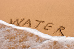 Inscription water on the sand at the beach stock photos