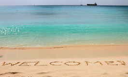Inscription welcome! on sand. Caribbean Islands, Bridgetown, Barbados Stock Images
