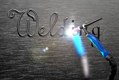 The inscription welding, tig welding handle on a metal plate. Rendering image Stock Photos