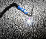 The inscription welding, tig welding handle on a metal plate. Rendering image Royalty Free Stock Images