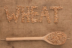 Inscription wheat with a wooden spoon on burlap Royalty Free Stock Photography