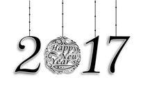 The inscription 2017. Wishing Happy New Year . Christmas illustration Royalty Free Stock Photography