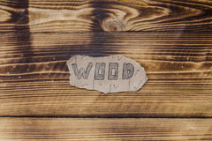 Inscription on a wooden background Royalty Free Stock Image