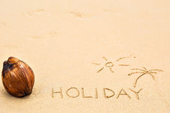 Inscription of the word Holiday and palm tree under the sun draw Stock Photos