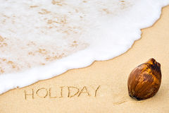 Inscription of word Holiday written on wet yellow beach sand and. Brown coconut Stock Photo