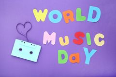 Inscription World Music Day stock images