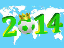 2014 with a soccer ball. Inscription year 2014 with a soccer ball and map Stock Illustration