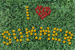 Inscription of yellow flowers on a background of grass Stock Photo