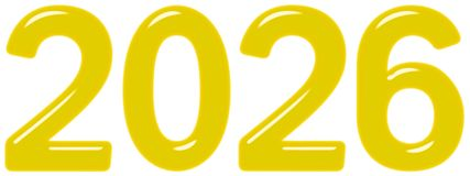 Inscription 2026 from yellow glass or plastic, isolated on white background, 3d render vector illustration