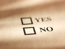The inscription yes, no on a sheet of paper. Royalty Free Stock Images