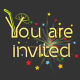 Inscription you are invited. With abstract fireworks, vector Stock Photo