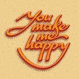 Inscription You make me happy. Vector illustration Stock Photos