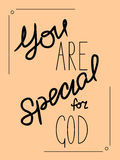 Inscription You are special to God made by hand Royalty Free Stock Photo