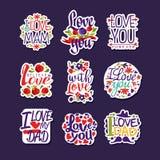 Inscriptions au sujet d'ensemble d'amour, calibres de conception pour la carte de voeux, invitation, insecte Calibre d'affiche de Photo libre de droits