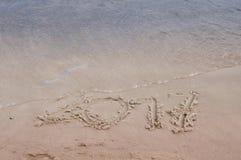 Inscriptions dans le sable en 2017 Photographie stock libre de droits