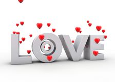 Inscriptions love with flying hearts Stock Images