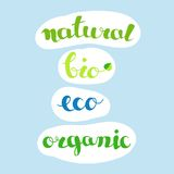 Inscriptions - natural, bio, eco, organic. Farm fresh and natural products or foods labels. Stock Photo