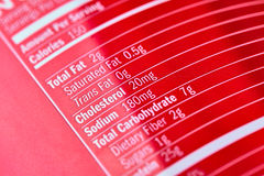 Inscriptions on red plastic sports nutrition bottle Royalty Free Stock Photo