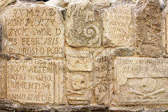 Inscriptions on tombstones in the Cathedral of Peter and Paul. In Kamianets-Podilskyi, Ukraine Stock Photo