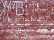 Inscriptions on wood Stock Photos