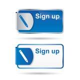 Inscrivez-vous le bouton ou le graphisme avec la conception web2 r3fléchissante Images stock
