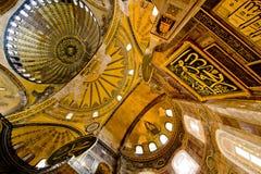 Insde van de Moskee van Hagia Sophia in Istanboel stock fotografie