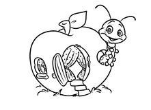 Insect apple coloring page stock illustration