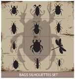 Insect and bags silhouettes sign black color Royalty Free Stock Photography