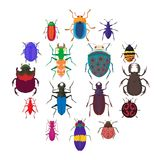 Insect bug icons set, cartoon style. Insect bug icons set in cartoon style isolated on white background Royalty Free Stock Photography