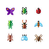 Insect bug icons. A set of flat insect bug icons, including ladybird royalty free illustration