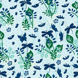 Insect cannot stop fly seamless pattern. This illustration is abstract bottom heavy growing plant, flowers, grasses, eggplants and dropping leaves but cannot Stock Images