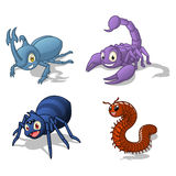Insect Cartoon Character Vector Illustration Pack Four Include Hercules Beetle, Scorpion, Spider and Millipede Royalty Free Stock Photography