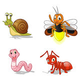 Insect Cartoon Character Vector Illustration Pack Three Include Snail, Firefly, Worm and Ant Royalty Free Stock Image