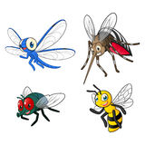Insect Cartoon Character Vector Illustration Pack Two Include Dragonfly, Mosquitoes, Fly and Bee Stock Photo