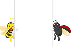 Insect cartoon holding blank sign. Illustration of Insect cartoon holding blank sign Royalty Free Stock Images