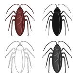 Insect cockroach single icon in cartoon,black,outline,monochrome style for design.Pest Control Service vector symbol. Stock illustration Stock Photo