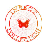 Insect collection orange round label Royalty Free Stock Photography