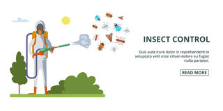 Insect control banner horizontal, cartoon style Royalty Free Stock Images