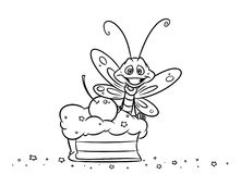 Insect eating cake coloring page Royalty Free Stock Image