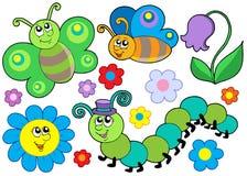 Insect en bloemreeks vector illustratie